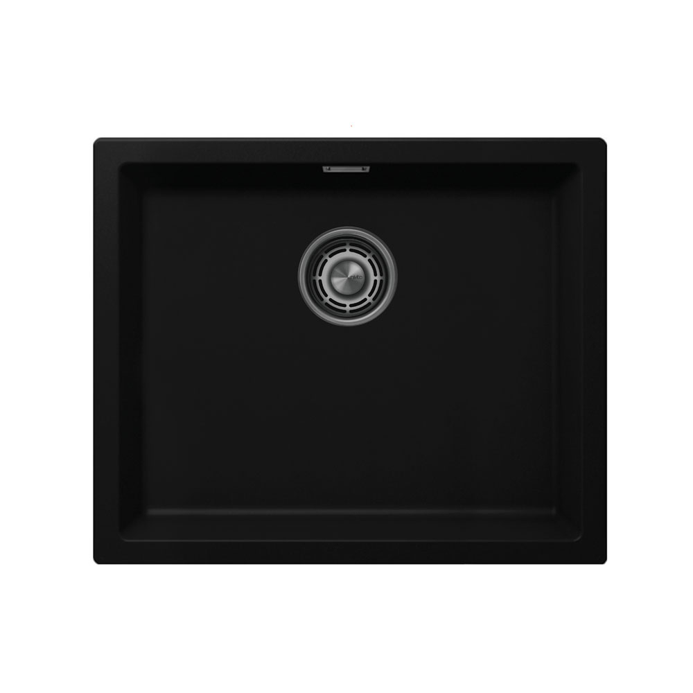 שחור כיור מטבח - Nivito CU-500-GR-BL Brushed Steel Strainer ∕ Waste Kit Color