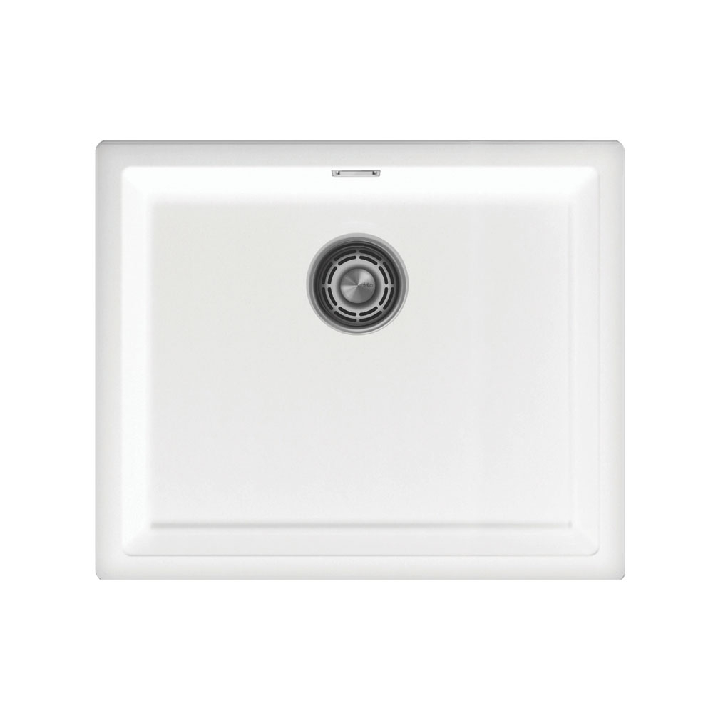 לבן מטבח אַגָן - Nivito CU-500-GR-WH Brushed Steel Strainer ∕ Waste Kit Color